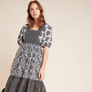 NWT Adrienne Flounced Midi Dress